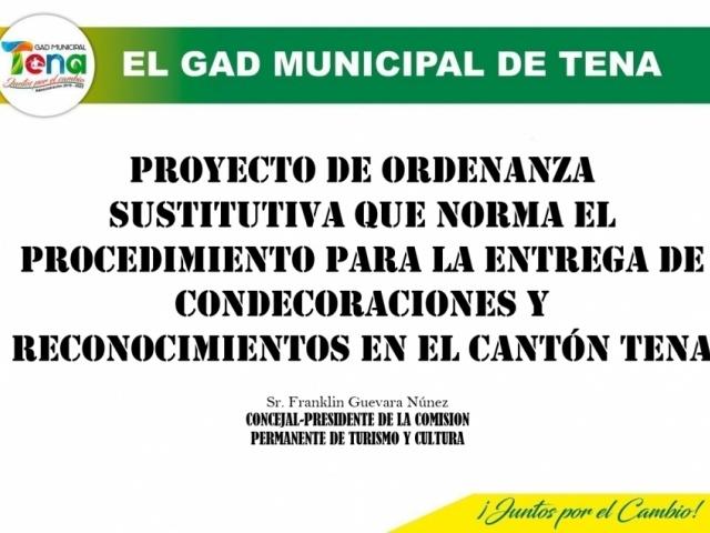 PROYECTO DE ORDENANZA PARA ENTREGA DE CONDECORACIONES Y RECONOCIMIENTOS